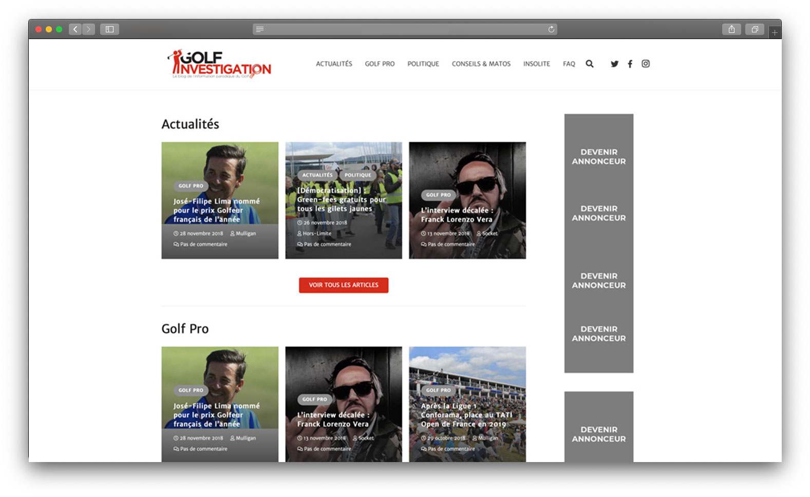 Site vitrine blog golf