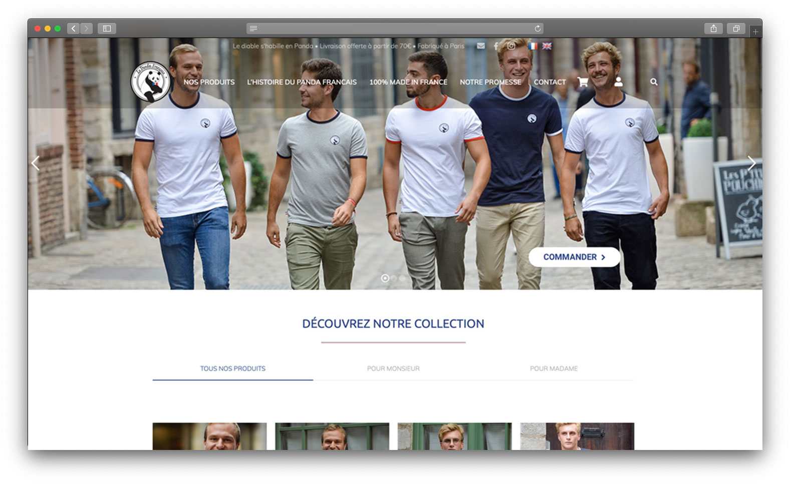 Site vitrine tshirt français